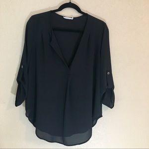 Lush black blouse pleating at shoulders & sheer L